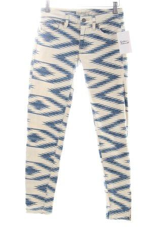 Ralph Lauren Skinny Jeans weiß-stahlblau abstraktes Muster Biker-Look