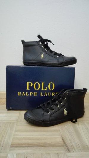 Ralph Lauren Sneaker stringata nero-oro Pelle