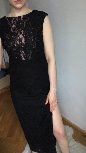 Ralph Lauren spitze Kleid lang Schlitz 34 36 schwarz abendkleid abiballkleid