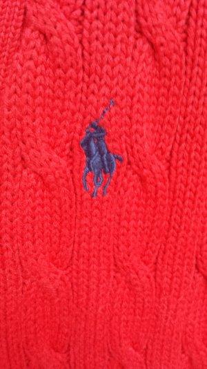 Ralph Lauren Sport Cardigan Rot mit blauem Reiter Zopfmuster