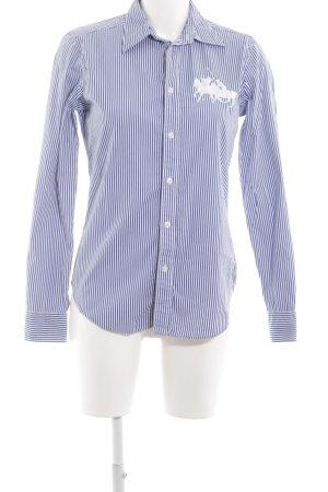 Ralph Lauren Sport Hemd-Bluse blau-weiß Schriftzug gestickt Casual-Look