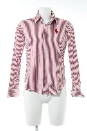Ralph Lauren Sport Hemd-Bluse dunkelrot-weiß Streifenmuster Logostickerei