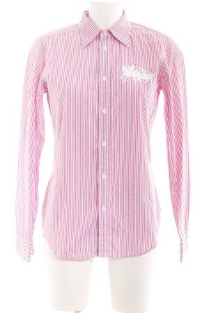 Ralph Lauren Sport Hemd-Bluse rosa-weiß Streifenmuster Reiter-Look