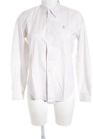 Ralph Lauren Sport Hemd-Bluse weiß-hellbraun Streifenmuster Casual-Look