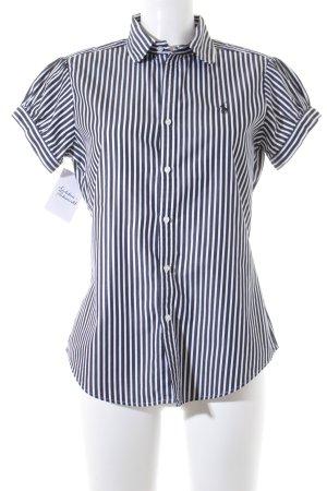 Ralph Lauren Sport Kurzarm-Bluse schwarz-weiß Streifenmuster Business-Look