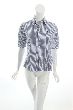 Ralph Lauren Sport Kurzarm-Bluse weiß-dunkelblau Streifenmuster Business-Look