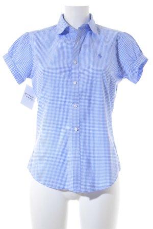 Ralph Lauren Sport Blouse à manches courtes blanc-bleu azur motif à carreaux