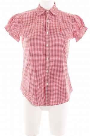 Ralph Lauren Sport Short Sleeve Shirt white-red check pattern business style