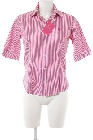 Ralph Lauren Sport Kurzarmhemd weiß-magenta Streifenmuster Business-Look