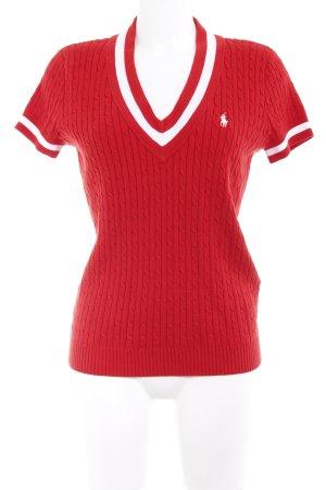Ralph Lauren Sport Kurzarmpullover rot-weiß Webmuster Casual-Look