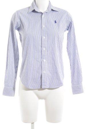 Ralph Lauren Sport Camisa de manga larga blanco-azul neón letras bordadas