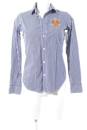Ralph Lauren Sport Camisa de manga larga azul oscuro-blanco estampado a rayas