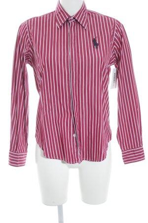 Ralph Lauren Sport Chemise à manches longues rouge foncé-blanc motif rayé
