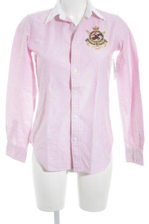 Ralph Lauren Sport Langarmhemd rosa-weiß meliert klassischer Stil