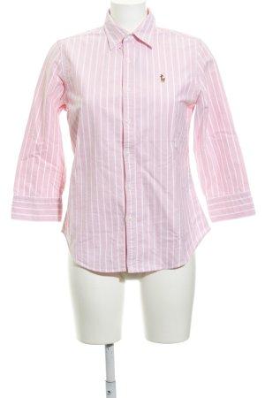 Ralph Lauren Sport Langarmhemd rosa-weiß Streifenmuster Reiter-Look