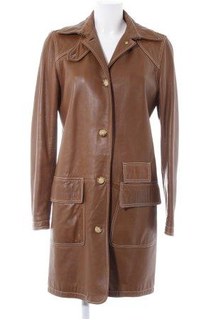 Ralph Lauren Sport Abrigo de cuero marrón look casual