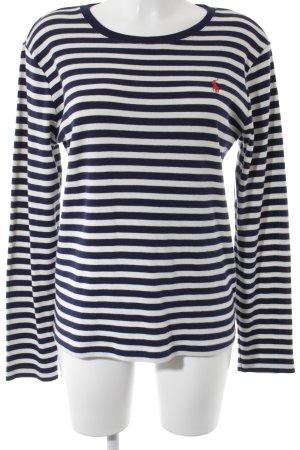 Ralph Lauren Sport Longsleeve weiß-dunkelblau Streifenmuster Marine-Look