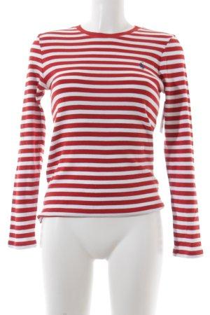 Ralph Lauren Sport Longsleeve weiß-rot Streifenmuster Casual-Look