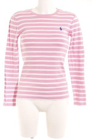 Ralph Lauren Sport Camisa de rayas blanco-rosa estampado a rayas estilo sencillo