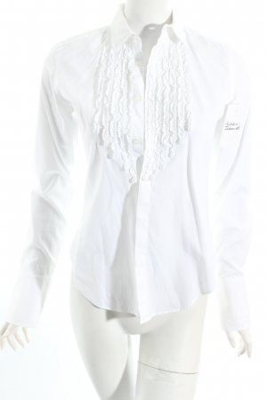 Ralph Lauren Sport Ruffled Blouse white Frill trimming