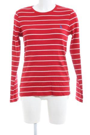 Ralph Lauren Sport Rundhalspullover rot-weiß Streifenmuster Casual-Look