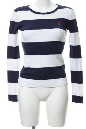Ralph Lauren Sport Rundhalspullover dunkelblau-wollweiß Streifenmuster