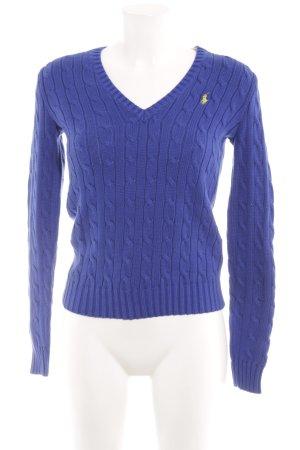 Ralph Lauren Sport Strickpullover blau Zopfmuster Casual-Look