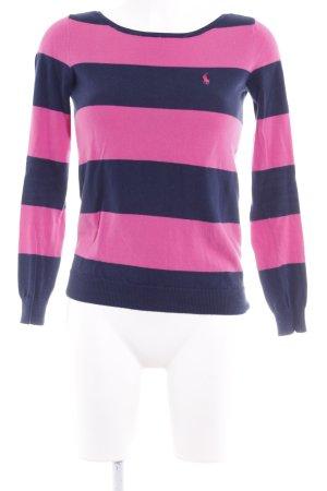 Ralph Lauren Sport Strickpullover dunkelblau-pink Streifenmuster Casual-Look