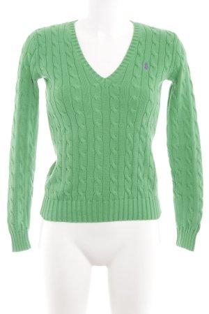 Ralph Lauren Sport Strickpullover grün Zopfmuster Casual-Look