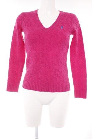 Ralph Lauren Sport Strickpullover pink Zopfmuster Casual-Look