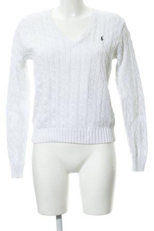 Ralph Lauren Sport Strickpullover weiß-graubraun Zopfmuster klassischer Stil