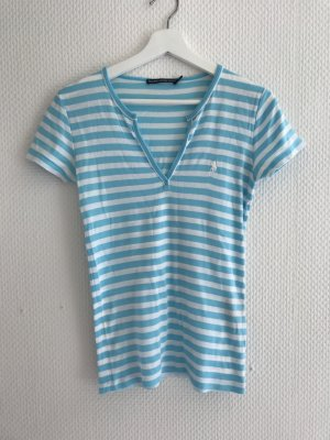 Ralph Lauren Sport T-Shirt gestreift türkis blau weiss passt Grösse M