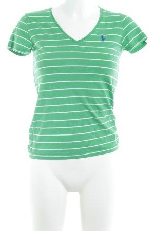 Ralph Lauren Sport T-Shirt grün-weiß Streifenmuster Casual-Look