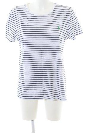 Ralph Lauren Sport T-Shirt weiß-blau Streifenmuster Casual-Look