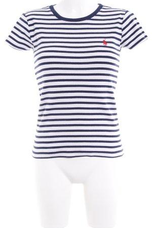 Ralph Lauren Sport T-Shirt weiß-dunkelblau Streifenmuster Casual-Look