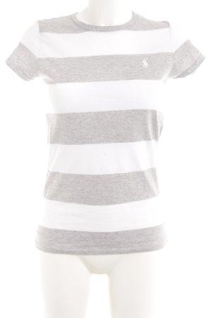 Ralph Lauren Sport T-Shirt weiß-hellgrau Streifenmuster Casual-Look