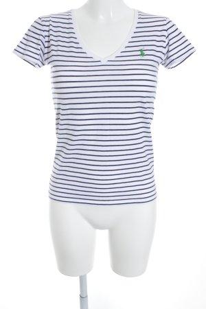Ralph Lauren Sport T-Shirt wollweiß-blau Streifenmuster sportlicher Stil