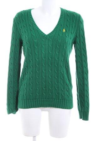 Ralph Lauren Sport V-Ausschnitt-Pullover grün Zopfmuster Casual-Look