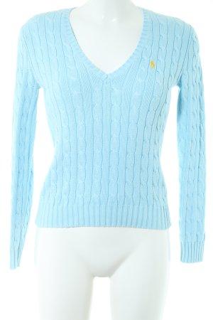 Ralph Lauren Sport V-Ausschnitt-Pullover blau Zopfmuster Casual-Look