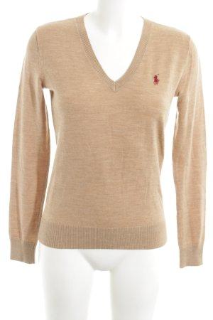 Ralph Lauren Sport V-Ausschnitt-Pullover nude meliert Business-Look