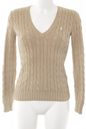 Ralph Lauren Sport V-Neck Sweater camel cable stitch casual look