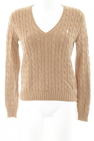 Ralph Lauren Sport V-Ausschnitt-Pullover camel Zopfmuster schlichter Stil