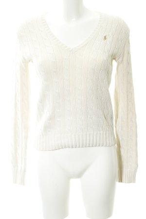 Ralph Lauren Sport V-Ausschnitt-Pullover creme Webmuster Casual-Look