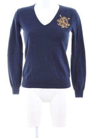 Ralph Lauren Sport V-Ausschnitt-Pullover blau-hellorange Motivdruck
