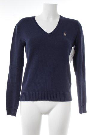 Ralph Lauren Sport V-Ausschnitt-Pullover dunkelblau College-Look