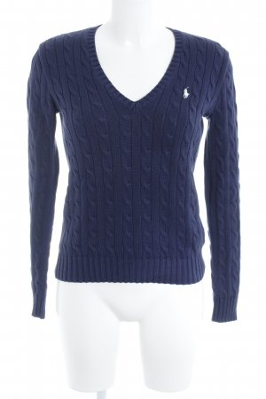 Ralph Lauren Sport V-Ausschnitt-Pullover dunkelblau-weiß Casual-Look