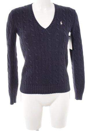 Ralph Lauren Sport V-Ausschnitt-Pullover dunkelblau Zopfmuster Casual-Look