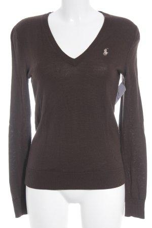 Ralph Lauren Sport V-Ausschnitt-Pullover dunkelbraun Casual-Look
