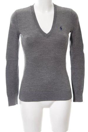 Ralph Lauren Sport V-Ausschnitt-Pullover hellgrau meliert Casual-Look