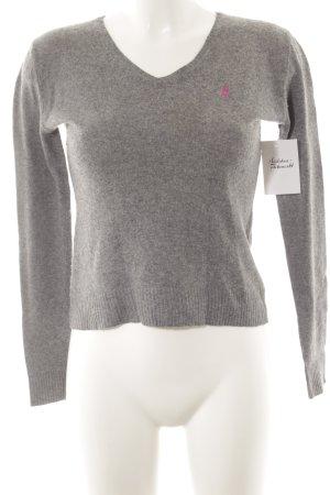 Ralph Lauren Sport V-Ausschnitt-Pullover grau-pink klassischer Stil